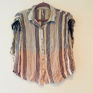 FREE PEOPLE STRIPED OMBRÉ SLEEVELESS BLOUSE